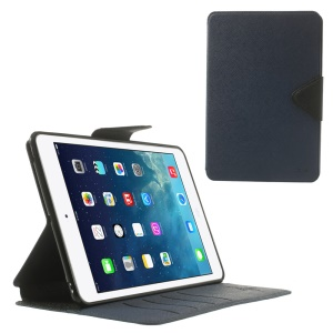Roar Korea Diary for iPad mini 2 / iPad mini Flip Smart Leather Case Stand - Black / Dark Blue