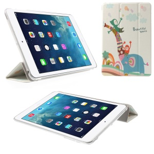 Smart Leather Case Tri-fold Stand for iPad mini 2 / iPad mini - Beautiful World Elephant