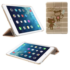 For iPad mini 2 / iPad mini Tri-fold Stand Leather Flip Smart Cover - Cartoon Cat & Bear