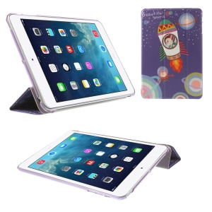 For iPad mini 2 / iPad mini Tri-fold Stand Leather Flip Smart Case - Beautiful World Rocket