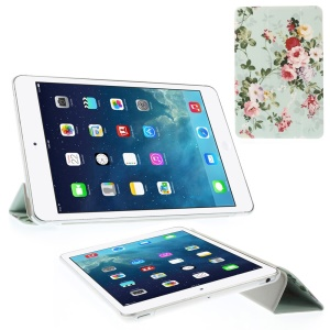 Pretty Flowers with Green Leaves Tri-fold Stand Folio Leather Smart Cover for iPad mini 2 / iPad mini