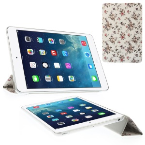 For iPad mini 2 / iPad mini Grey Floret Tri-fold Stand Smart Leather Protector Case