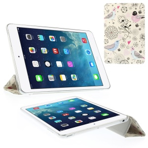 Cartoon Flowers & Birds Tri-fold Smart Leather Cover for iPad Mini 2 with Retina display / iPad mini