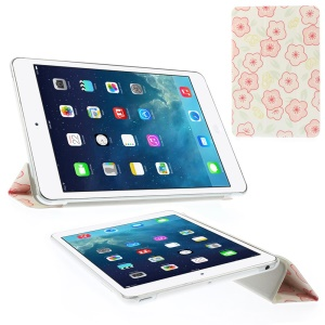 Cartoon Pink Flowers Tri-fold Stand Smart Leather Shell for iPad Mini 2 with Retina display / iPad mini