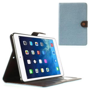 Jeans Cloth Leather Card Holder Case w/ Stand for iPad Mini / iPad Mini 2 (Retina) - Light Blue
