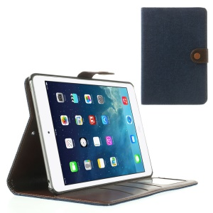 Jeans Cloth Leather Card Holder Case w/ Stand for iPad Mini / iPad Mini 2 (Retina) - Deep Blue