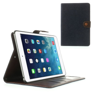 Jeans Cloth Leather Card Holder Case w/ Stand for iPad Mini / iPad Mini 2 (Retina) - Black Blue