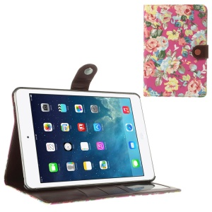 Blossom Cloth Leather Diary Stand Case for iPad Mini / iPad Mini 2 (Retina) - Rose
