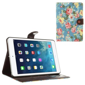 Blossom Pattern for iPad Mini / iPad Mini 2 (Retina) Cloth Leather Diary Stand Cover - Light Blue