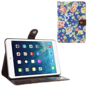 Blossom Pattern for iPad Mini / iPad Mini 2 (Retina) Cloth Leather Diary Stand Cover - Deep Blue