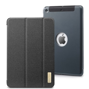 TakeFans Sharp Series Smart Aluminum Alloy Leather Case for iPad Mini / iPad Mini 2 (Retina) - Black