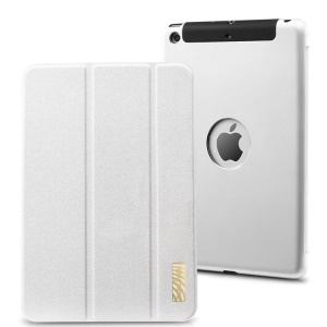 TakeFans Sharp Series Smart Aluminum Alloy Leather Case for iPad Mini / iPad Mini 2 (Retina) - White