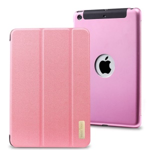 TakeFans Sharp Series Smart Aluminum Alloy Leather Case for iPad Mini / iPad Mini 2 (Retina) - Pink