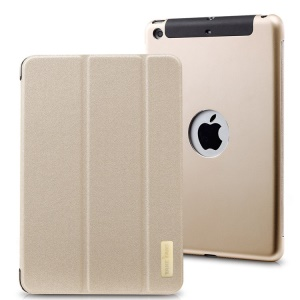 TakeFans Sharp Series for iPad Mini / iPad Mini 2 Smart Aluminum Alloy Leather Cover - Champagne Gold