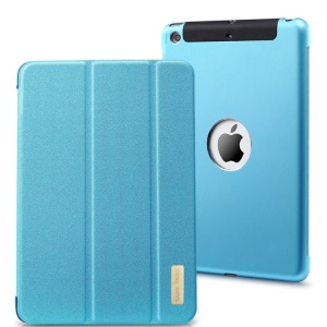 TakeFans Sharp Series for iPad Mini / iPad Mini 2 Smart Aluminum Alloy Leather Cover - Blue