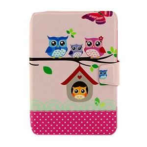 Cute Owls & Dots Smart Leather Card Holder Cover for iPad Mini  2 / iPad Mini w/ Rotary Stand