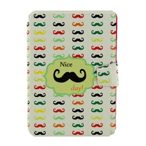 Funny Moustaches Smart Leather Card Holder Case for iPad Mini  2 / iPad Mini w/ Rotary Stand