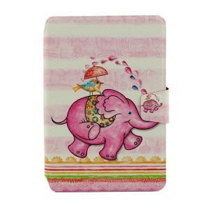 An Elephant Playing with a Bird for iPad Mini  2 / iPad Mini Smart Rotary Leather Card Holder Case