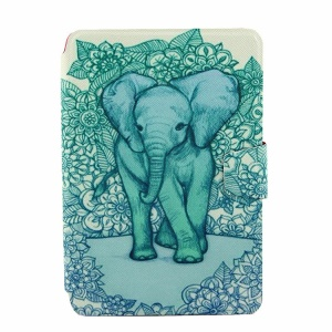 Blue Flower and Elephant for iPad Mini  2 / iPad Mini Smart Rotary Stand Leather Shell