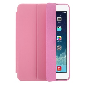 Tri-fold PU Leather Smart Case for iPad Mini / iPad Mini 2 Retina Display w/ Stand - Pink