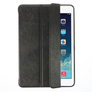 YED Smart Silk Texture Tri-fold Leather Front Cover + Metal Back Case for iPad Mini / iPad Mini Retina - Black