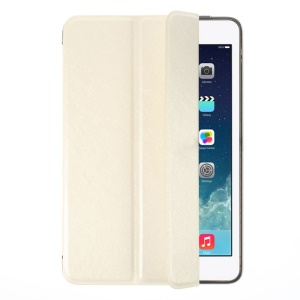 YED Smart Silk Texture Tri-fold Leather Front Cover + Metal Back Case for iPad Mini / iPad Mini Retina - White