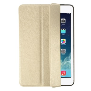 YED Smart Silk Texture Leather Front Cover + Metal Back Shell for iPad Mini / iPad Mini Retina - Champagne