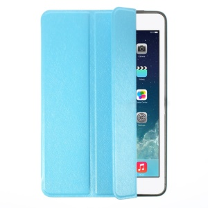 YED Smart Silk Texture Tri-fold Leather Front Cover + Metal Back Shell for iPad Mini / iPad Mini Retina - Blue