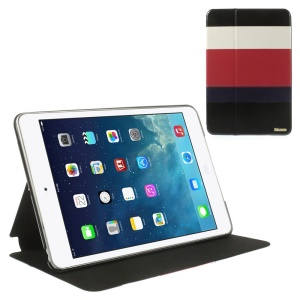 Multi-color Smart Leather Stand Case for iPad Mini / iPad Mini Retina - White / Red