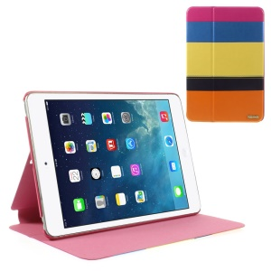 Multi-color Smart Leather Stand Shell for iPad Mini / iPad Mini Retina - Blue / Yellow