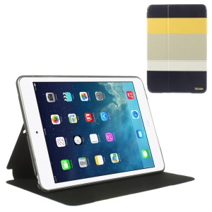 Multi-color Smart Leather Stand Folio Case for iPad Mini / iPad Mini Retina - Yellow / Gray