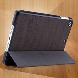 Mooke Tri-fold Wood Grain Smart Leather Shell for iPad Mini / iPad Mini Retina - Dark Gray