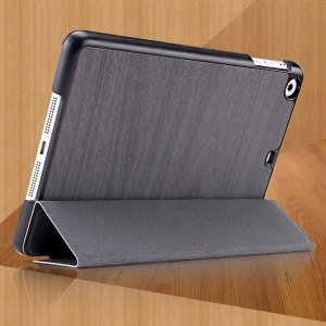 Mooke Tri-fold Wood Grain Smart Leather Cover for iPad Mini / iPad Mini Retina - Light Gray