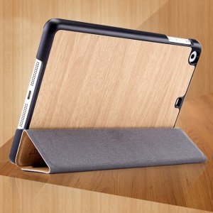 Mooke Tri-fold Wood Grain Smart Leather Case for iPad Mini / iPad Mini Retina - Beige