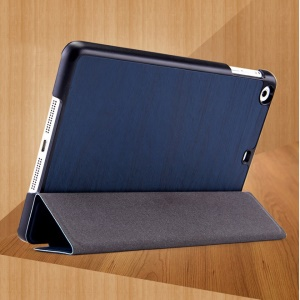 Mooke Tri-fold Wood Grain Smart Leather Shell Cover for iPad Mini / iPad Mini Retina - Dark Blue