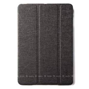 Mooke Tri-fold Lines Texture Smart Leather Flip Case for iPad Mini / iPad Mini Retina - Black