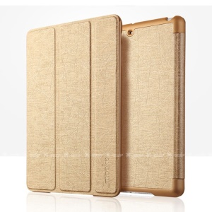 Mooke Tri-fold Lines Texture Smart Leather Case Cover for iPad Mini / iPad Mini Retina - Gold