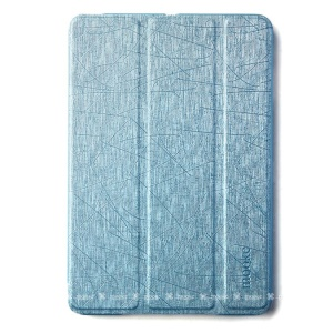 Mooke Tri-fold Lines Texture Leather Smart Case for iPad Mini / iPad Mini Retina - Light Blue