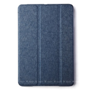 Mooke Tri-fold Lines Texture Leather Smart Shell for iPad Mini / iPad Mini Retina - Dark Blue