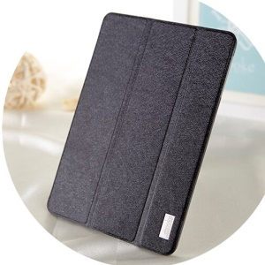 Mooke Silk Texture Smart Leather Tri-fold Stand Case for iPad Mini / iPad Mini Retina - Black