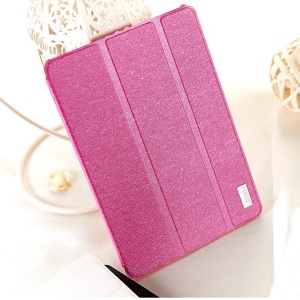 Mooke Silk Texture Smart Leather Tri-fold Stand Shell for iPad Mini / iPad Mini Retina - Rose