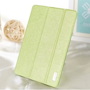 Mooke Silk Texture Smart Leather Tri-fold Cover for iPad Mini / iPad Mini Retina - Green