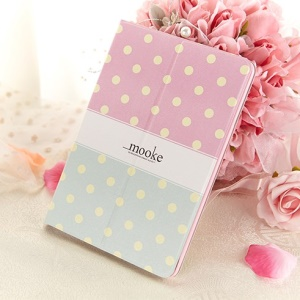 Mooke Polka Dot for iPad Mini / iPad Mini Retina Smart Leather Case w/ Stand - Pink / Cyan