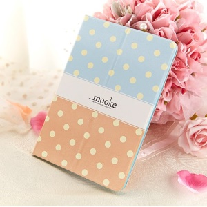 Mooke Polka Dot for iPad Mini / iPad Mini Retina Smart Leather Shell w/ Stand - Blue / Orange