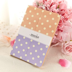 Mooke Polka Dot for iPad Mini / iPad Mini Retina Smart Leather Cover w/ Stand - Orange / Purple