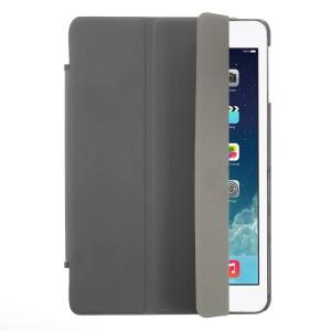 Tri-fold Stand Leather Cover + Rubberized PC Back Case for iPad Mini / iPad Mini Retina - Grey