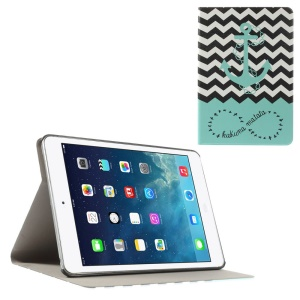 Anchor & Chevron Stripes Folio Leather Stand Shell for iPad Mini / iPad Mini Retina