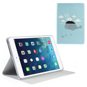 Silk Texture Whale Pattern Folio Leather Stand Case for iPad Mini / iPad Mini Retina