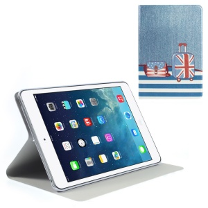 Silk Texture Bag & Suitcase Pattern Folio Leather Stand Case for iPad Mini / iPad Mini Retina