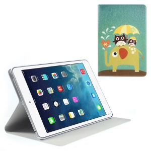 Silk Texture Owl & Elephant Pattern Folio Leather Stand Cover for iPad Mini / iPad Mini Retina